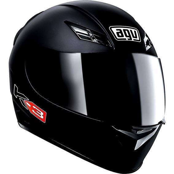 Casco Agv K3 Basic Solid Black Integral Negro En Fas Motos !