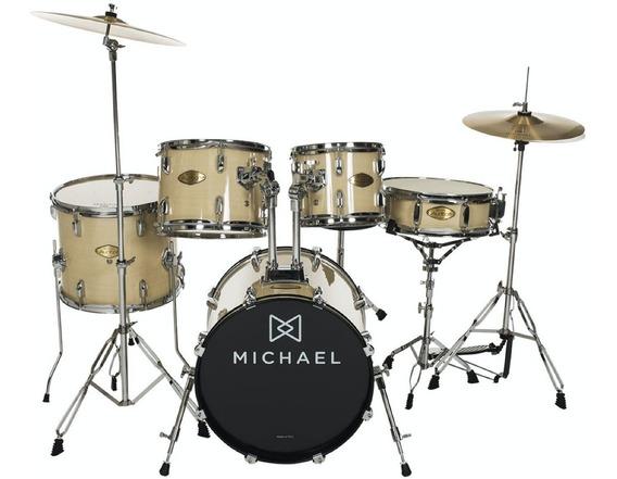 Bateria Michael Acústica Completa Com Bumbo De 20 Dm827 Top