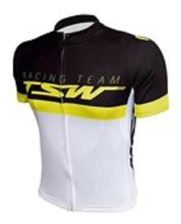 Camisa De Ciclismo Tsw Com Zíper 100% Poliester Manga Curta