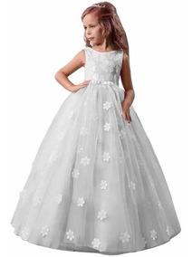 Vestido De Primera Comunión Blanco Rosas Bordados Elegante
