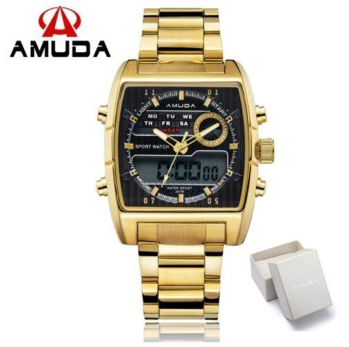 Relógio Pulso Masculino Dourado Anadigi Prova D