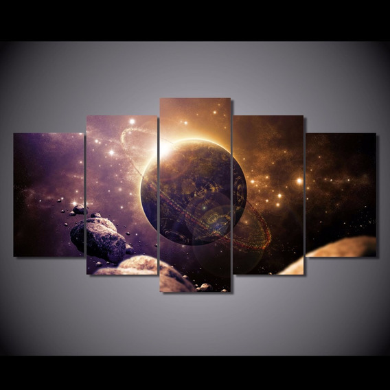 Quadro 5 Peças Planeta Universo Galaxia Mercurio Planetas 3d