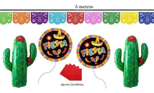Kit De Fiesta Mexicana Globos Guirnaldas Gratis Servilletas