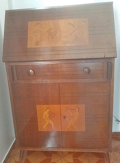 Escrivaninha (birô) De Madeira Com Marchetaria / Antiga