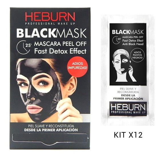Heburn Black Mask Mascara Facial Peel Off Set Kit 12 Sobres