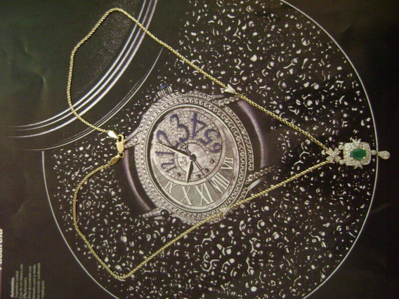 Collar Gargantilla C/dije Oro 14kt C/brillantes Y Esmeralda.
