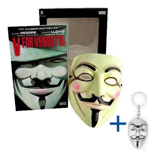 Box V De Vingança Hq E Mascara + Chaveiro Em Metal