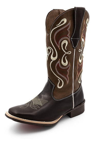 Bota Country Feminina Cano Longo Texana Couro Bordado Top
