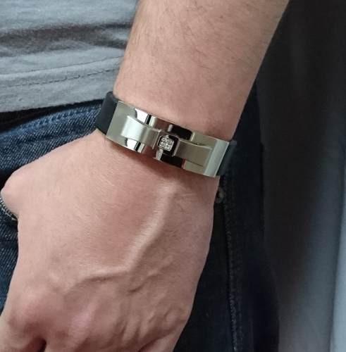 Bracelete Pulseira Masculina Couro E Aço Zirconia 15mm