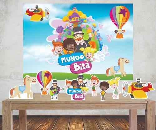 Imagem 1 de 5 de Kit Festa Mundo Bita  Painel Poli Banner + Displays Adesivo