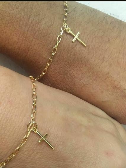 Pulseira Together Forever Kit Banhado A Ouro Pingente Luxo