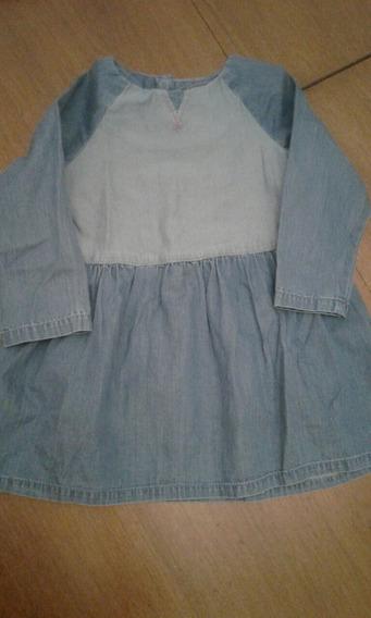 Vestido De Jean Mango. Bebé Nena 9-12 Meses