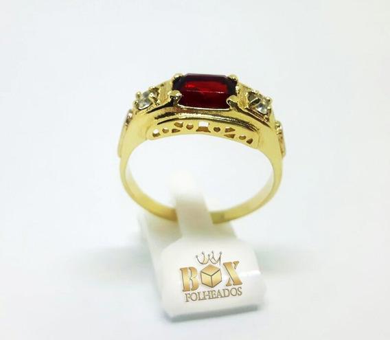 Anel Formatura Pedra Vermelha Masculino Folheado A Ouro 18k