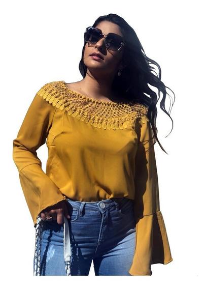 Blusa Feminina Social Em Renda Blusinhas Moda Evangélica