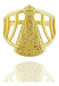 Anel Nossa Senhora Aparecida Largo Semi Joia Dourado