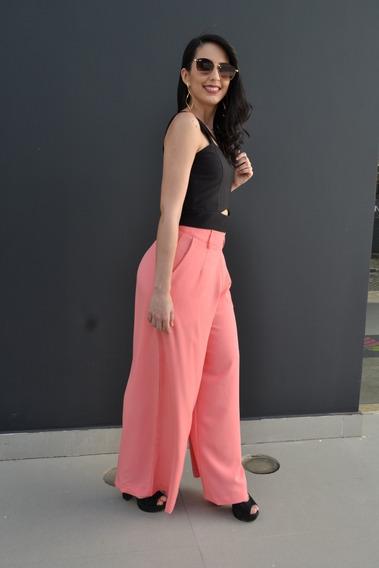 Conjunto Cropped E Calça Pantalona Cintura Alta Blogueira