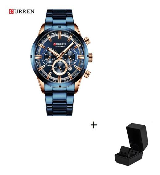 Relógio Curren Homens Faixa De Aço Inox Com Caixa Presente