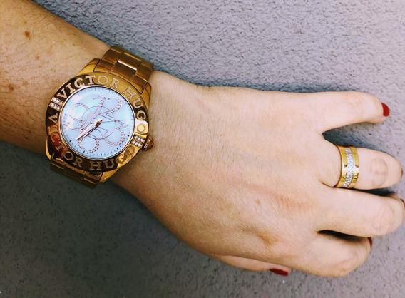 Relógio Original Feminino Victor Hugo Dourado Vh10038 Usado