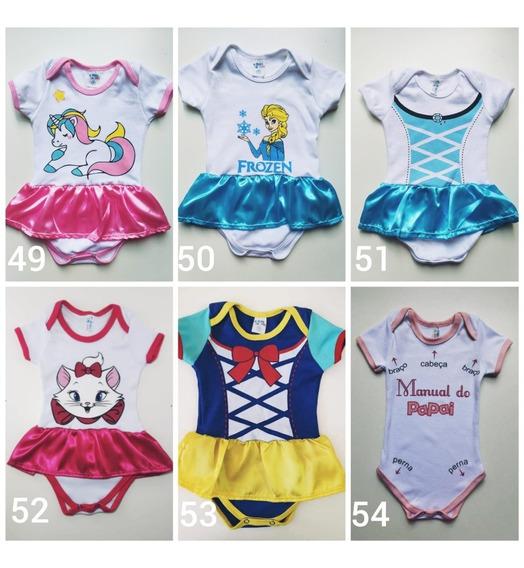 Kit 10 Und Body Infantil Princesas Menina Tudo G