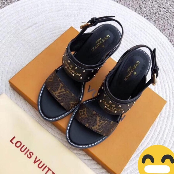 Sandalia Louis Vuitton Lv Couro Na Caixa Original !!!