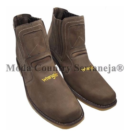 Botina Country Cowboy Wrangler Couro Legítimo Nobuck Unisex
