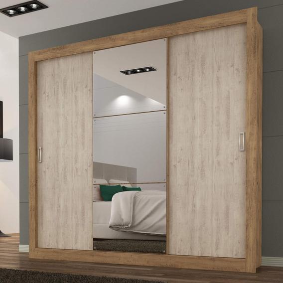 Guarda Roupa Casal Com Espelho 3 Portas 3 Gavetas Flex Hc