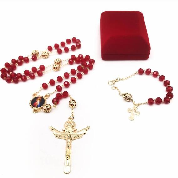 Terço Cristal Jesus Misericordioso E Santa Faustina Fol Ouro