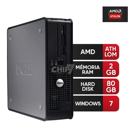 Desktop Dell Optiplex Amd Atlhon, 2gb, Hd 80gb Para Estudos!