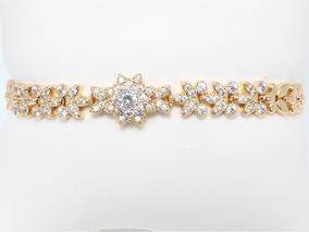 8e3f42f72360 Fina Pulsera Esclava Diamantada Swarovski Oro Lamin 18k 17cm