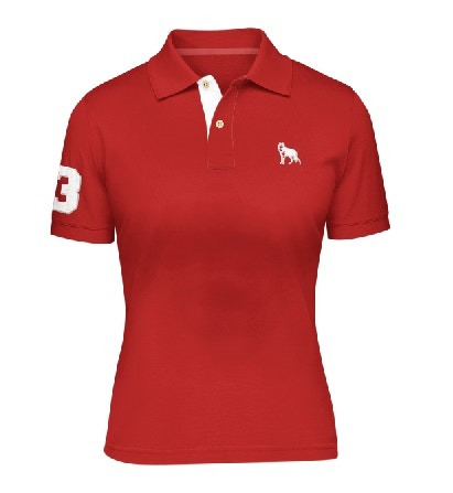 Camisa Polo Feminina Lobo Branco Vip Vermelha Fps 50+