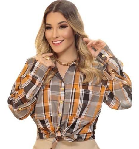 Camisa Feminina Xadrez Blusa Manga Longa Slim Inverno