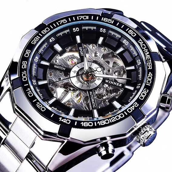 Reloj Pulsera Winner Acero Inoxidable Para Hombre Con Caja