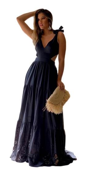 Vestido Longo Barra Bordada Preto Lançamento V # 210