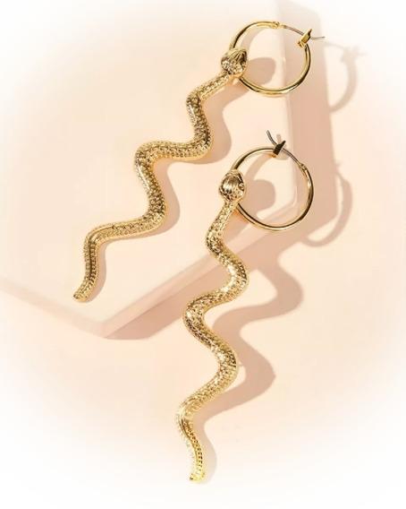 Aretes De Aro En Forma De Serpiente 1 Par