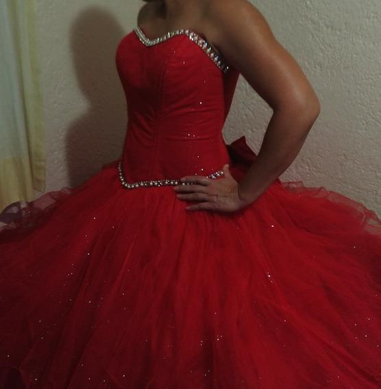 Hermoso Vestido De Xv Años Rojo Tallas 9-13