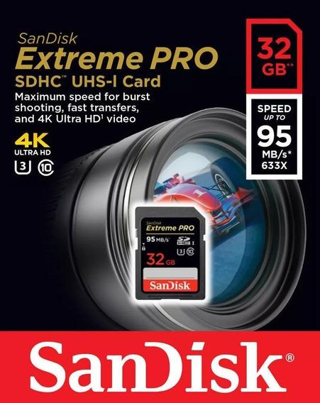 Cartão 32gb Sd Sandisk Extreme Pro 4k Original Na Embalagem