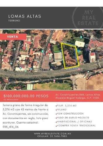 Terreno 3276 M2 En Lomas Altas, Miguel Hidalgo