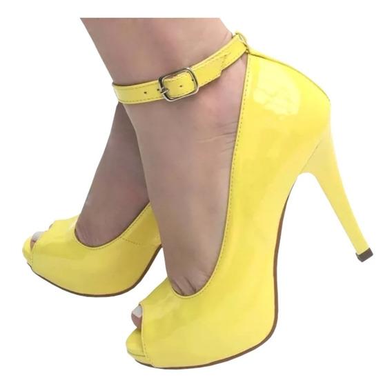 Sandália Peep Toe Amarelo Tornozeleira Salto Alto Meia Pata