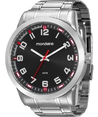 Relógio Mondaine Masculino Analógico Prateado Preto Original