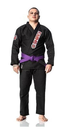 Kimono Jiu Jitsu Level One Preto + Faixa Branca C/ Ponteira