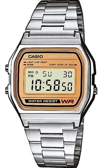 Relógio Feminino Casio Vintage Fundo Dourado A158we