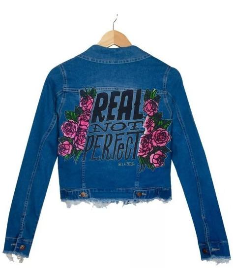 Campera Jean Pintada Estampada Rosas Flores Real No Perfecta