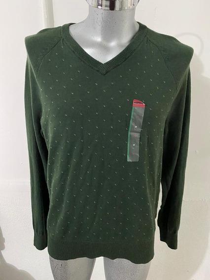 Sweater Merona Verde Militar Cuello V