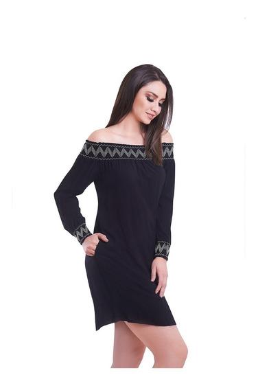 Vestido Corto Negro Strapless Con Bordado Devendi Denim Co.