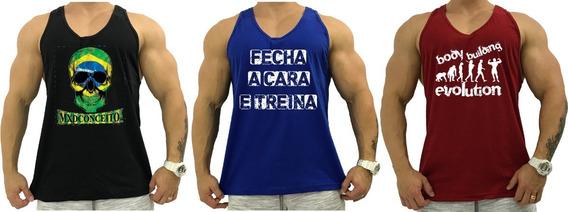 Kit 3 Regatas Masculina Cavada Academia Camiseta Treino Tank