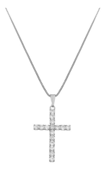 Gargantilha Crucifixo Pedra Zircônia Branca Folheado A Prata