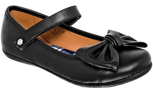 Zapato Escolar Piel Coqueta Mujer Negro Moño C60987 Udt