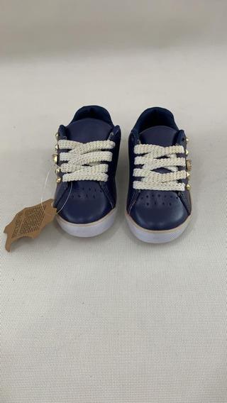 Tênis Infantil Azul Com Tachas Douradas
