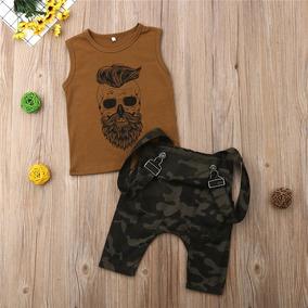 Conjunto Infantil Menino Barber Skull, Jardineira Camuflada