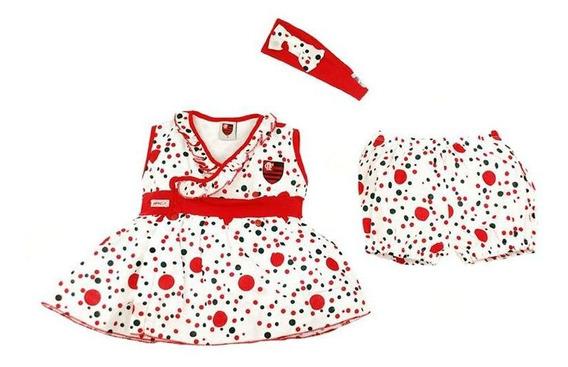 Vestido De Bolinha Revedor Flamengo Com Tiara E Short Menina